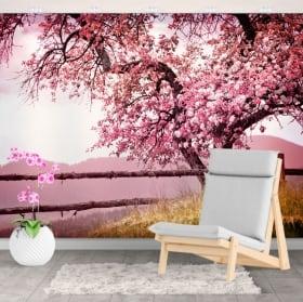 Peintures murales en vinyle arbre fleur de cerisier
