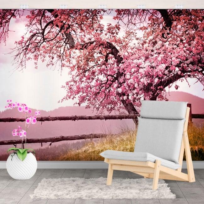 Photomuraux vinyles les murs cerise japonaise