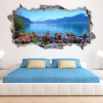 Vinyle les murs fleurs dans le lac léman la suisse 3d