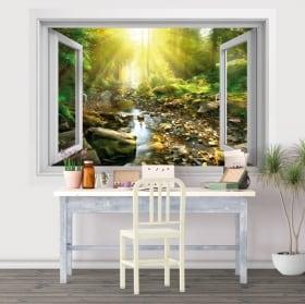Vinyle fenêtre coucher de soleil dans le champ de fleurs 3d
