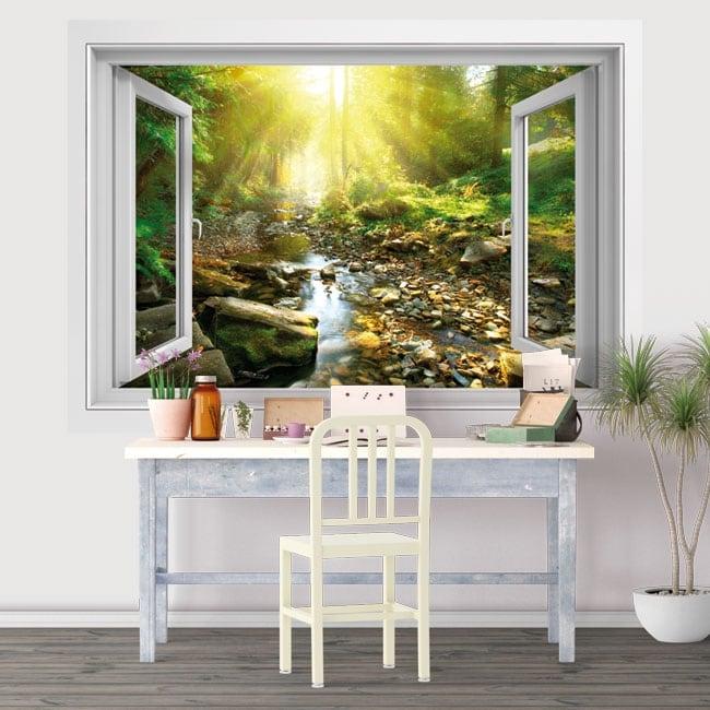 Vinyle crépuscule rivière dans la forêt fenêtre 3d