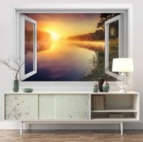 Vinyle les murs lever du soleil rivière neris lituanie 3d