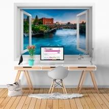 Vinyle les murs washington rivière spokane fenêtre 3d