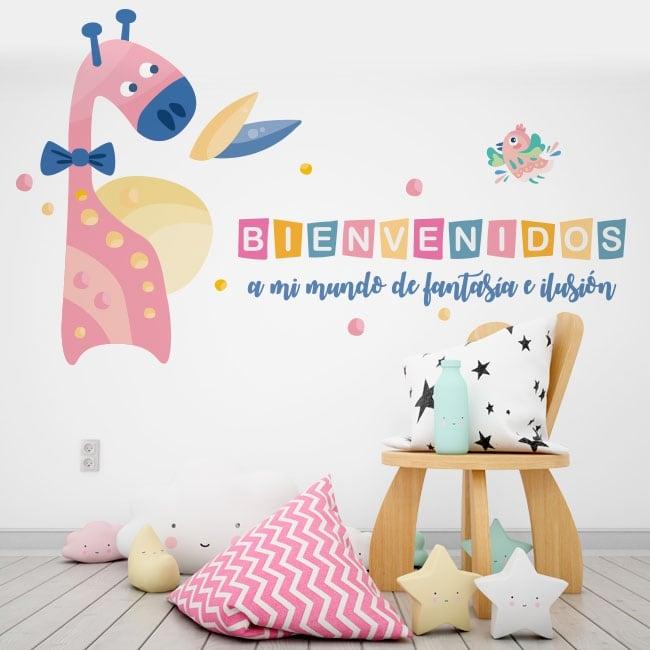 Vinyle pour enfants girafe et oiseau bienvenue dans mon monde