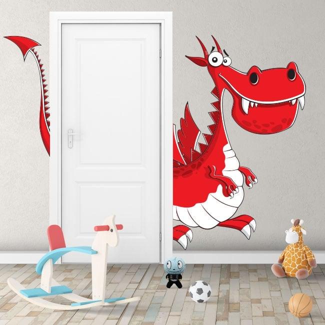Vinyle pour enfants dragon pour les portes