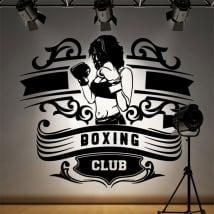 Vinyle et autocollants club de boxe silhouette de femme