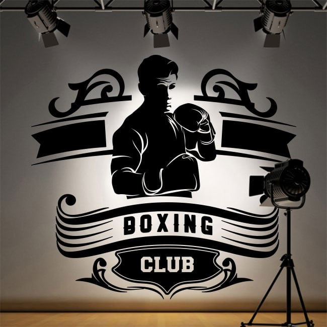Vinyle décoratif club de boxe silhouette homme