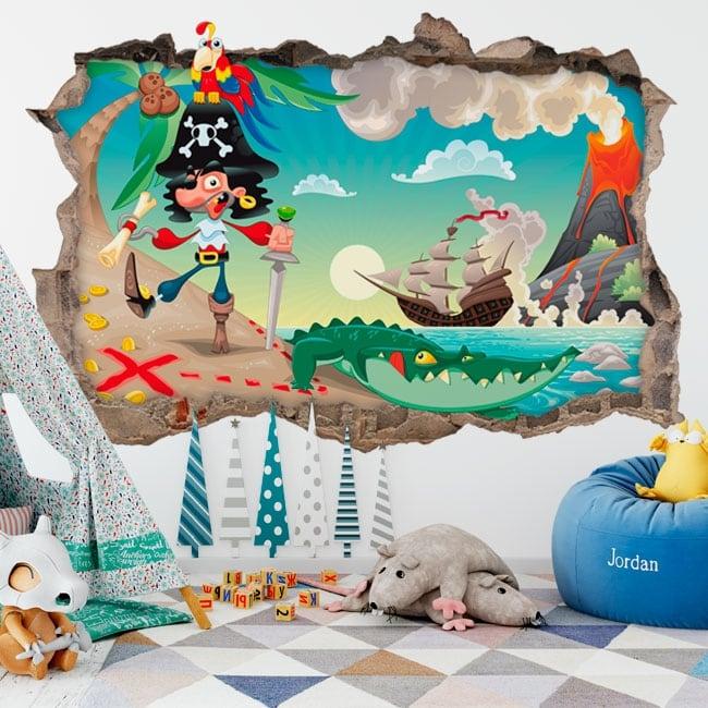 Vinyle pour enfants pirate sur l'île au trésor 3d