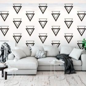 Murale vinyle avec des triangles et des lignes