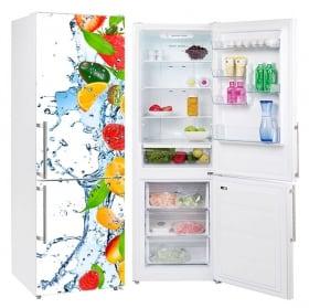 Vinyle décoratif réfrigérateurs fruits éclaboussures d'eau
