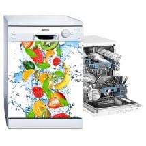 Vinyle et des autocollants lave vaisselle fruits éclaboussures d'eau