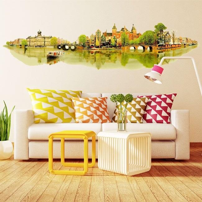 Vinyle murs illustration aquarelle amsterdam
