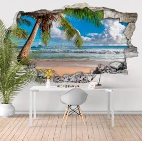 Vinyle murs palmiers sur la plage 3d