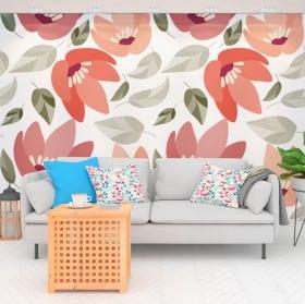 Murales de vinyle avec des fleurs de la nature