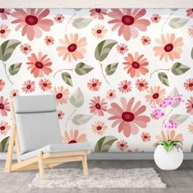 Murales adhésives fleurs à décorer