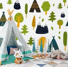 Murales de vinyle arbres fleurs et ours
