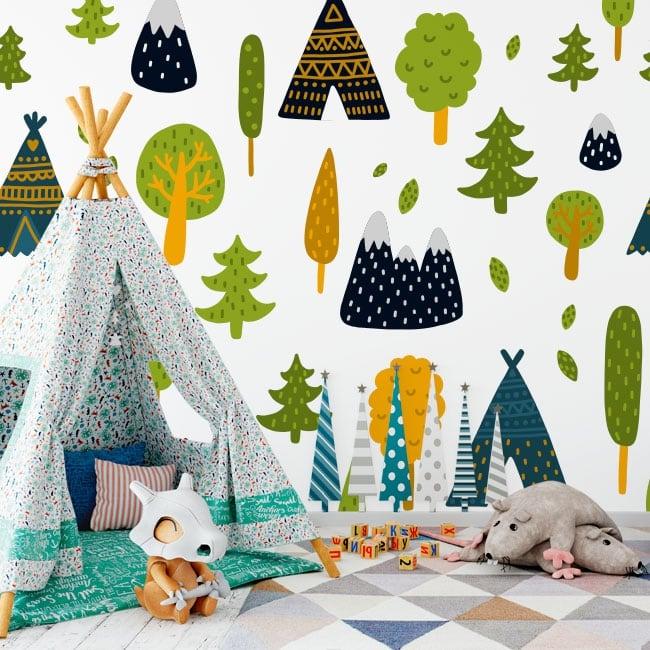Murales de vinyle des arbres et tentes tipi