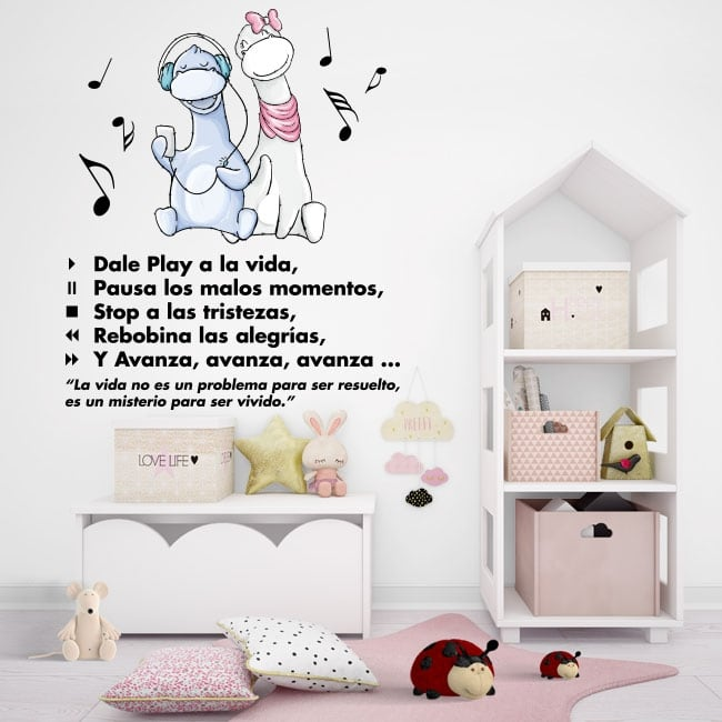 Vinyle décoratif phrases de motivation play à la vie