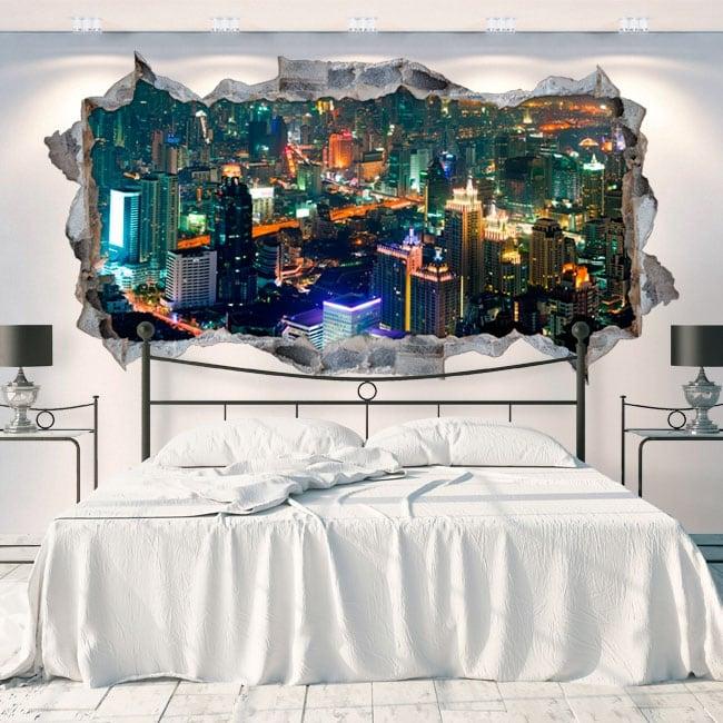 Vinyle les murs panoramique ville bangkok thailand 3d