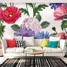 Peintures murales avec des fleurs pour les murs et les objets