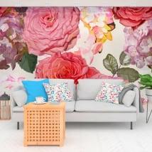 Papiers peints de vinyle avec des fleurs d'hortensia