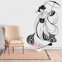 Vinyle décoratif silhouette femme japon