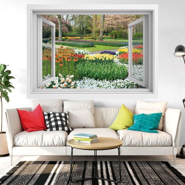 Vinyle décoratif fenêtre fleurs dans le jardin 3d