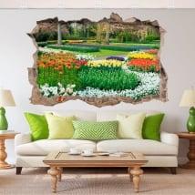 Vinyle 3d jardin avec des fleurs