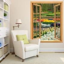 Vinyle des fenêtres jardin de fleurs et de tulipes 3d