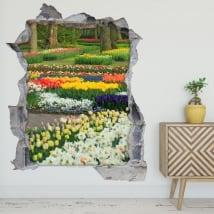 Vinyle et des autocollants jardin fleurs et tulipes 3d
