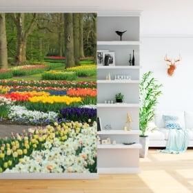 Peintures murales de vinyle jardin avec des fleurs