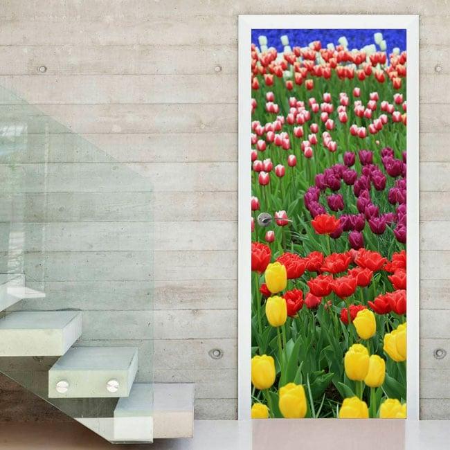 Vinyle les portes des fleurs tulipes colorées