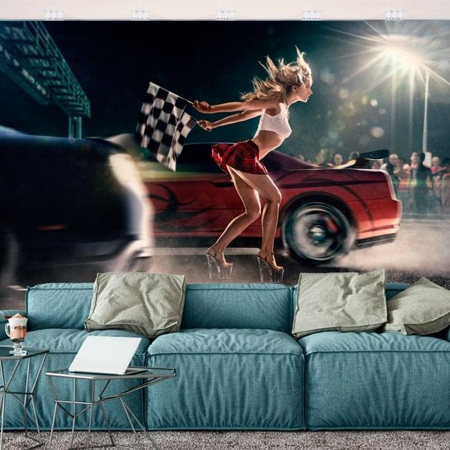 Peintures murales de vinyle course de voitures