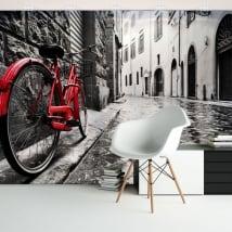 Peintures murales de vinyle ville et vélo rétro