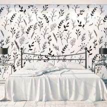 Peintures murales fleurs et feuilles nature