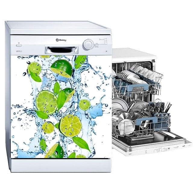Vinyle lave vaisselle citrons dans l'eau