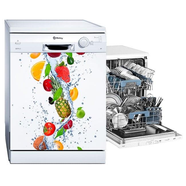 Vinyle lave vaisselle fruits dans l'eau