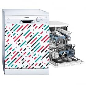 Vinyles lave-vaisselle lignes et cercles de couleurs