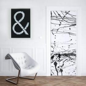 Vinyle pour portes et armoires éclaboussures de peinture noire