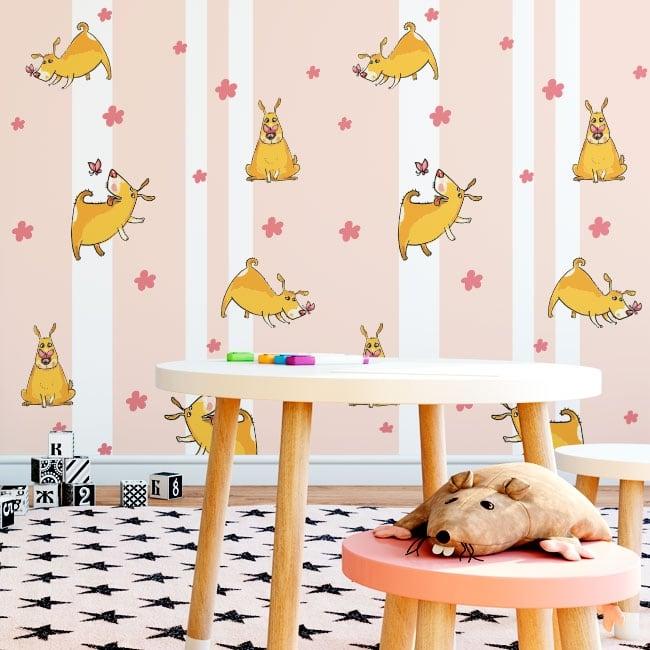 Peintures murales de vinyle chiens fleurs et papillons