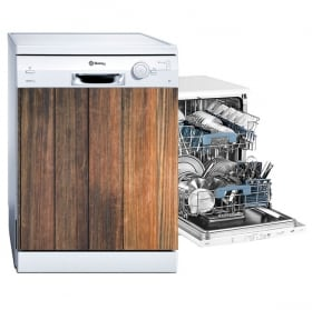 Vinyle lave vaisselle finition bois rustique