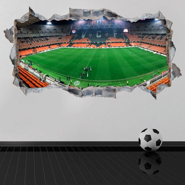 Stickers muraux 3d panoramique mestalla valencia club de football