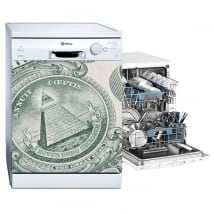Vinyle décoratif lave vaisselle dollar des états-unis