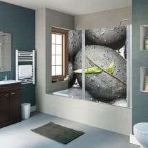 Vinyle décoratif écrans de salle de bains pierres zen