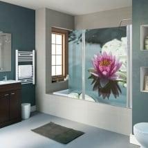 Vinyle décoratif écrans de salle de bain fleur de lotus