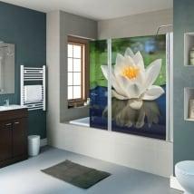 Vinyle et autocollants écrans de salle de bain fleur de lotus