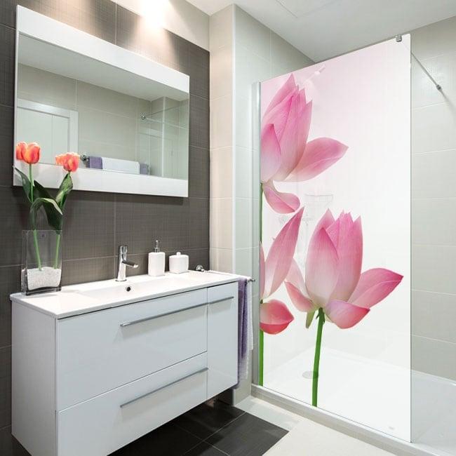 Vinyle écrans de salle de bain fleurs de lotus
