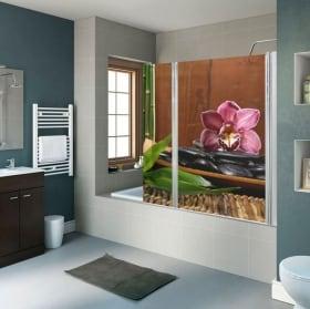 Vinyles pour écrans de salle de bain décoration zen