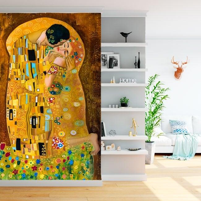 Peintures murales gustav klimt oeuvre d'art le bisou