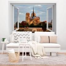Vinyle 3d fenêtre cathédrale notre dame paris france